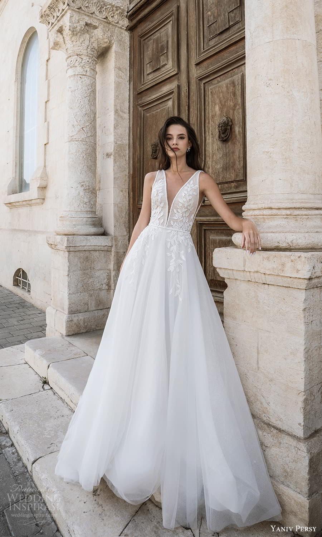 yaniv persy spring 2022 bridal sleeveless straps v neckline embellished bodice a line ball gown wedding dress (8) mv