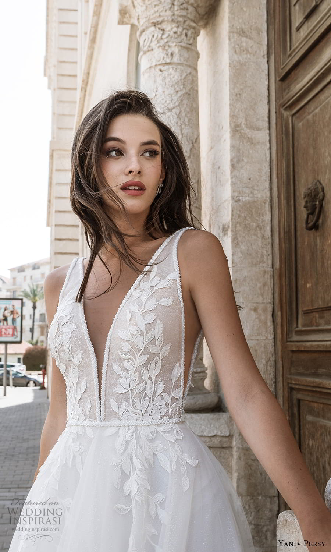 yaniv persy spring 2022 bridal sleeveless straps v neckline embellished bodice a line ball gown wedding dress (8) zv
