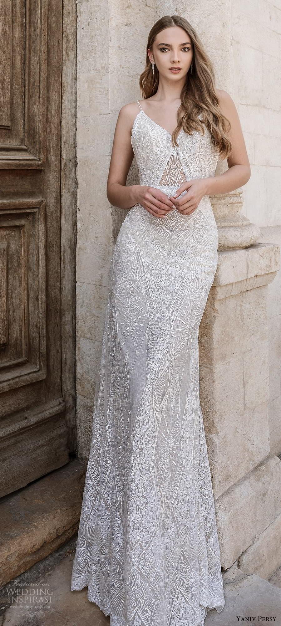 yaniv persy spring 2022 bridal sleeveless straps v neckline fully embellished sheath wedding dress (4) lv