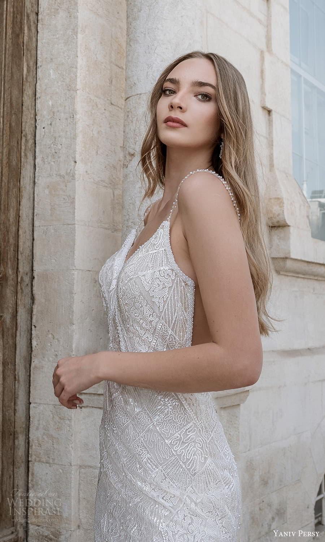 yaniv persy spring 2022 bridal sleeveless straps v neckline fully embellished sheath wedding dress (4) zv
