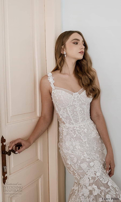 yaniv persy spring 2022 bridal straps sweetheart neckline fully embellished fit flare mermaid wedding dress chapel train (7) mv