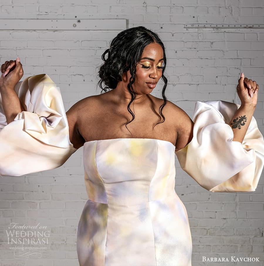 barbara kavchok 2022 nouveau bridal detached puff sleeves strapless straight across fit flare wedding dress multi color (9) mv
