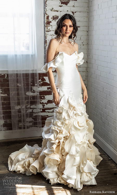 barbara kavchok 2022 nouveau bridal off shoulder flutter sleeve sweetheart neckline clean minimalist a line wedding dress ruffle skirt (12) mv
