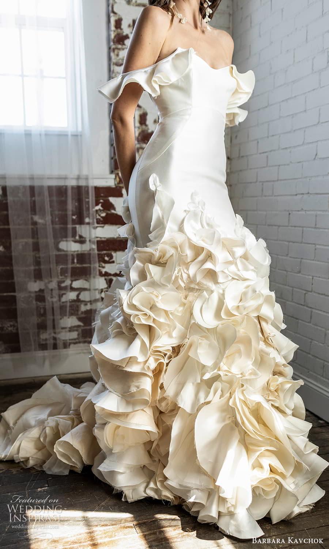 barbara kavchok 2022 nouveau bridal off shoulder flutter sleeve sweetheart neckline clean minimalist a line wedding dress ruffle skirt (12) zv