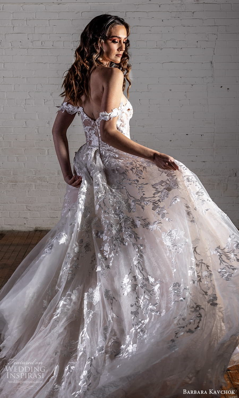 barbara kavchok 2022 nouveau bridal off shoulder straps semi sweetheart neckline fully embellished a line ball gown wedding dress chapel train (1) bv