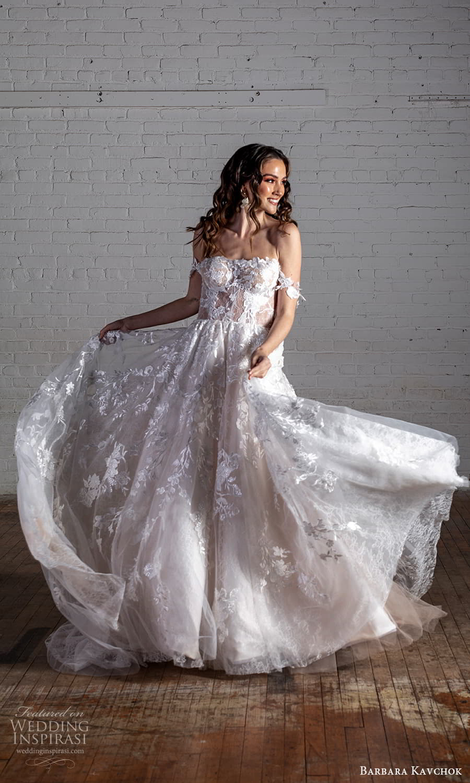 barbara kavchok 2022 nouveau bridal off shoulder straps semi sweetheart neckline fully embellished a line ball gown wedding dress chapel train (1) mv
