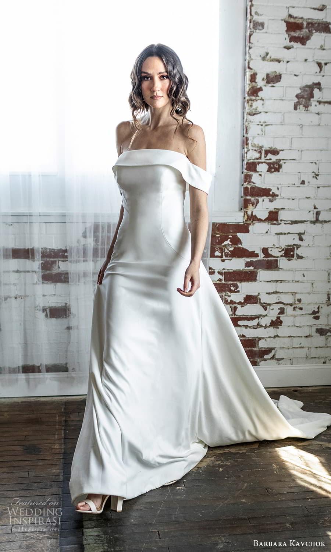barbara kavchok 2022 nouveau bridal off shoulder straps straight across neckline clean minimalist a line wedding dress chapel train (11) mv