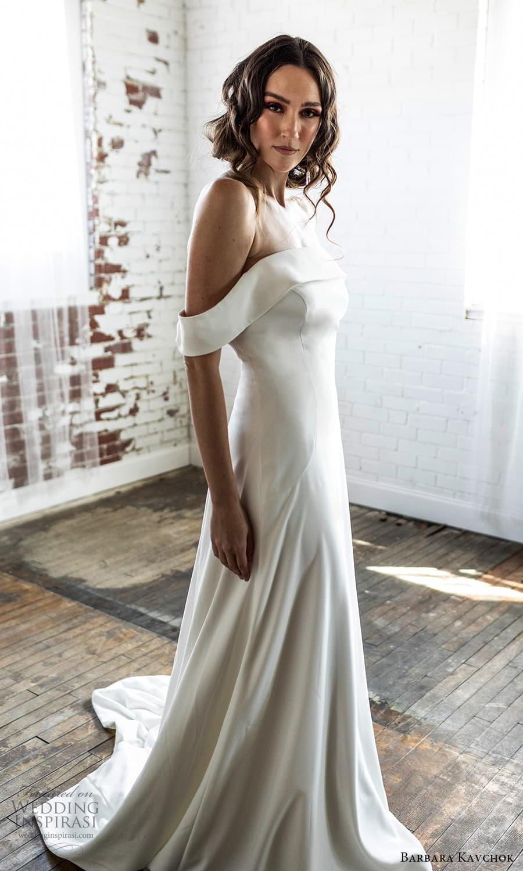 barbara kavchok 2022 nouveau bridal off shoulder straps straight across neckline clean minimalist a line wedding dress chapel train (11) sv