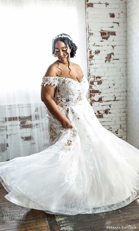 barbara kavchok 2022 nouveau bridal off shoulder straps sweetheart neckline embellished lace bodice a line ball gown wedding dress (5) mv
