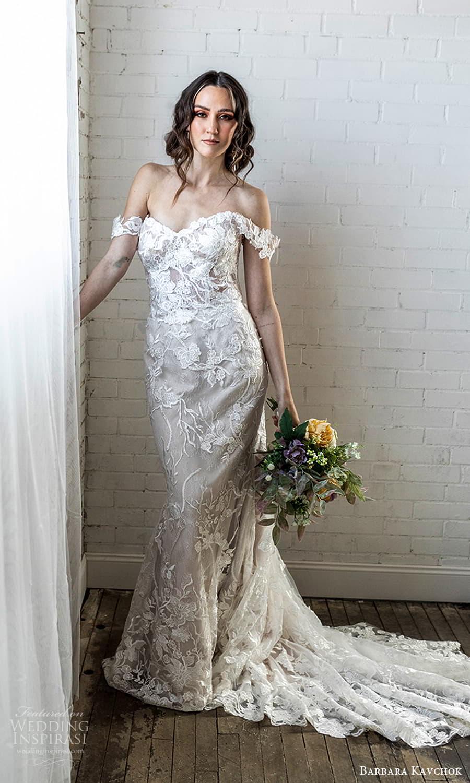 barbara kavchok 2022 nouveau bridal off shoulder straps sweetheart neckline fully embellished lace sheath wedding dress chapel train (10) mv