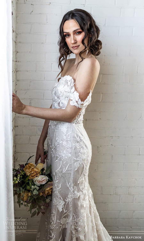 barbara kavchok 2022 nouveau bridal off shoulder straps sweetheart neckline fully embellished lace sheath wedding dress chapel train (10) zsv