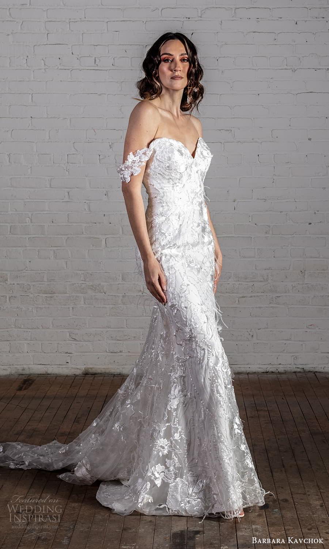 barbara kavchok 2022 nouveau bridal off shoulder straps sweetheart neckline fully embellished lace sheath wedding dress chapel train (14) mv