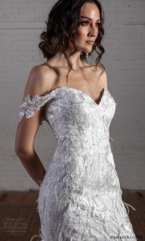 barbara kavchok 2022 nouveau bridal off shoulder straps sweetheart neckline fully embellished lace sheath wedding dress chapel train (14) zv