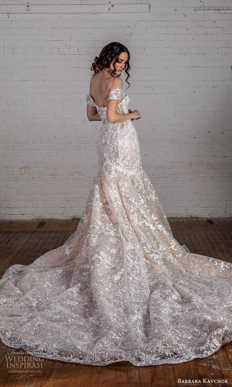 barbara kavchok 2022 nouveau bridal off shoulder strps sweetheart neckline fully embellished fit flare mermaid wedding dress hapel train (3) bv
