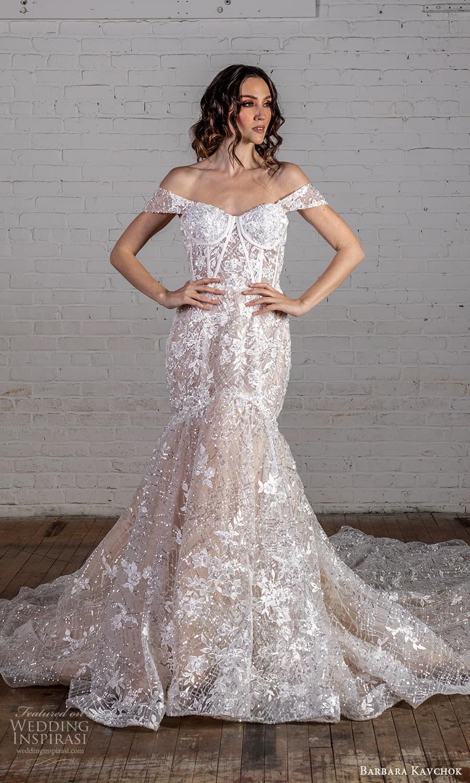barbara kavchok 2022 nouveau bridal off shoulder strps sweetheart neckline fully embellished fit flare mermaid wedding dress hapel train (3) mv