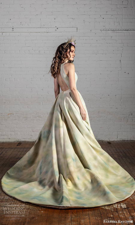 barbara kavchok 2022 nouveau bridal sleeveless halter strap jewel neckline cutout bodice a line ball gown wedding dress multi color chapel train (8) bv