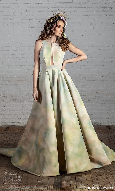 barbara kavchok 2022 nouveau bridal sleeveless halter strap jewel neckline cutout bodice a line ball gown wedding dress multi color chapel train (8) fv