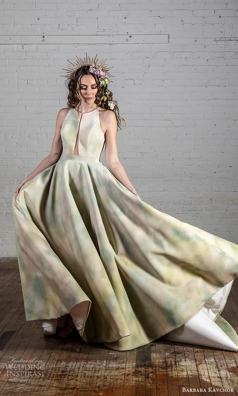 barbara kavchok 2022 nouveau bridal sleeveless halter strap jewel neckline cutout bodice a line ball gown wedding dress multi color chapel train (8) mv