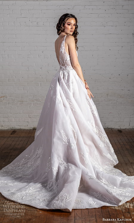 barbara kavchok 2022 nouveau bridal sleeveless straps scoop neckline embellished bodice a line ball gown wedding dress chapel train (6) bv