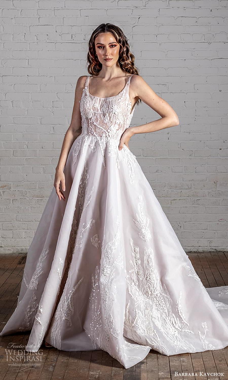 barbara kavchok 2022 nouveau bridal sleeveless straps scoop neckline embellished bodice a line ball gown wedding dress chapel train (6) mv