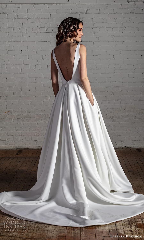 barbara kavchok 2022 nouveau bridal sleeveless straps square neckline clean minimalist a line ball gown wedding dress chapel train (4) bv