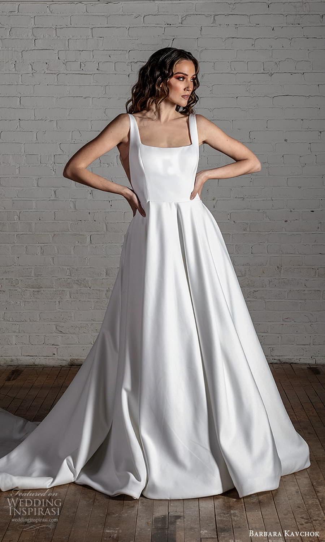 barbara kavchok 2022 nouveau bridal sleeveless straps square neckline clean minimalist a line ball gown wedding dress chapel train (4) mv