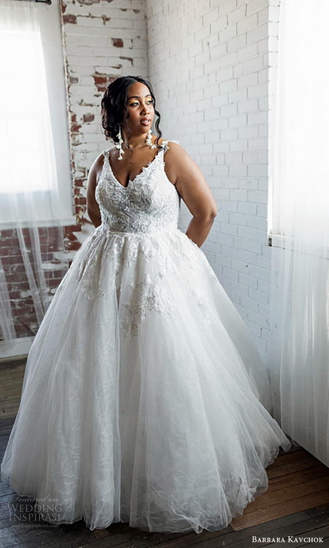 barbara kavchok 2022 nouveau bridal sleeveless straps v neckline fully embellished lace a line ball gown wedding dress (2) fv