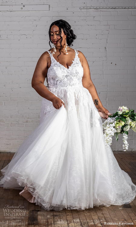 barbara kavchok 2022 nouveau bridal sleeveless straps v neckline fully embellished lace a line ball gown wedding dress (2) mv