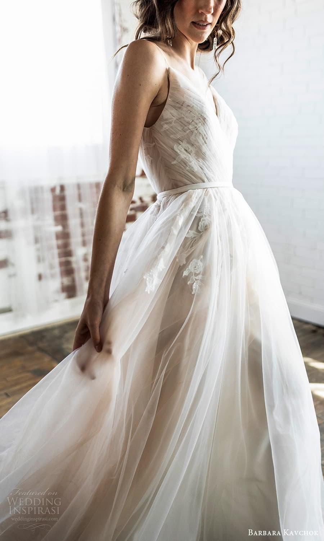 barbara kavchok 2022 nouveau bridal sleevelss straps v neckline ruched bodice a line ball gown wedding dress (13) mv