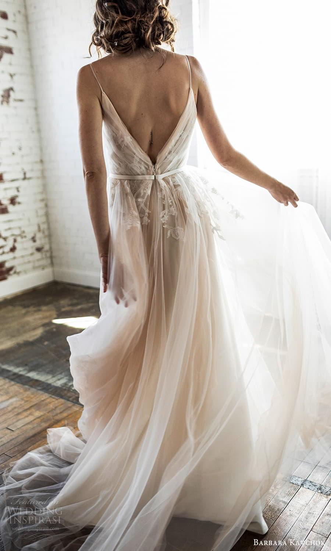 barbara kavchok 2022 nouveau bridal sleevelss straps v neckline ruched bodice a line ball gown wedding dress v back (13) bv