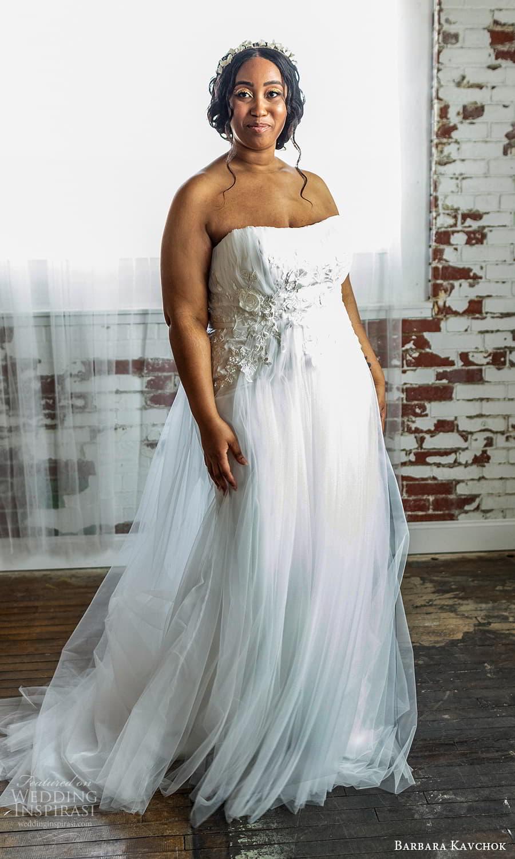 barbara kavchok 2022 nouveau bridal strapless semi sweetheart neckline embellished ruched bodice a line wedding dress chapel train (7) mv