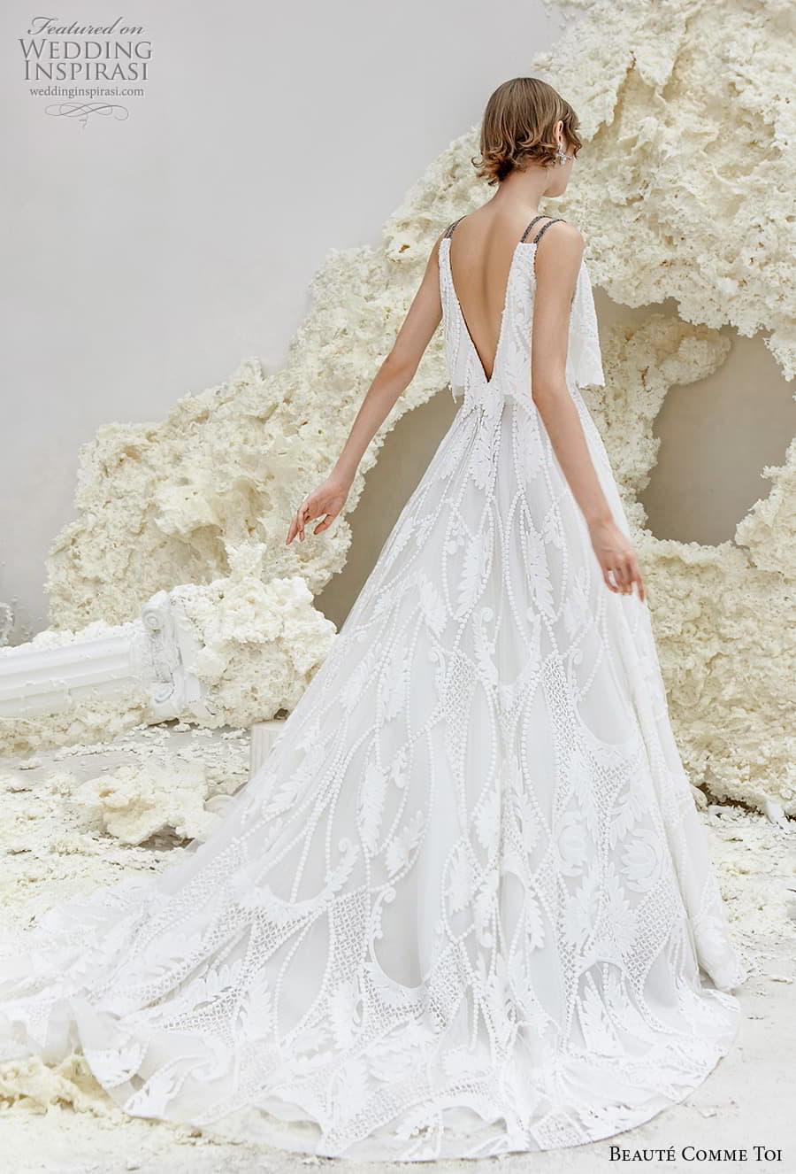 beaute comme toi spring 2022 bridal double strap deep v neck full embellishment romantic a line wedding dress v back chapel train (eleanor) bv