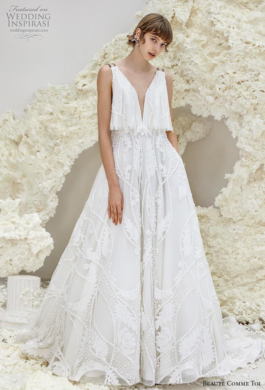 beaute comme toi spring 2022 bridal double strap deep v neck full embellishment romantic a line wedding dress v back chapel train (eleanor) mv