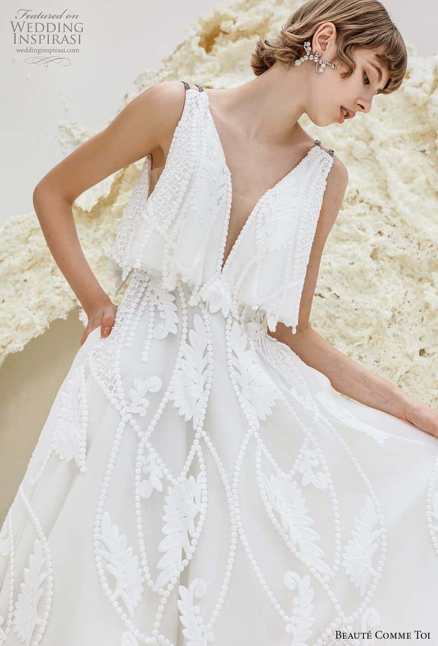 beaute comme toi spring 2022 bridal double strap deep v neck full embellishment romantic a line wedding dress v back chapel train (eleanor) zv