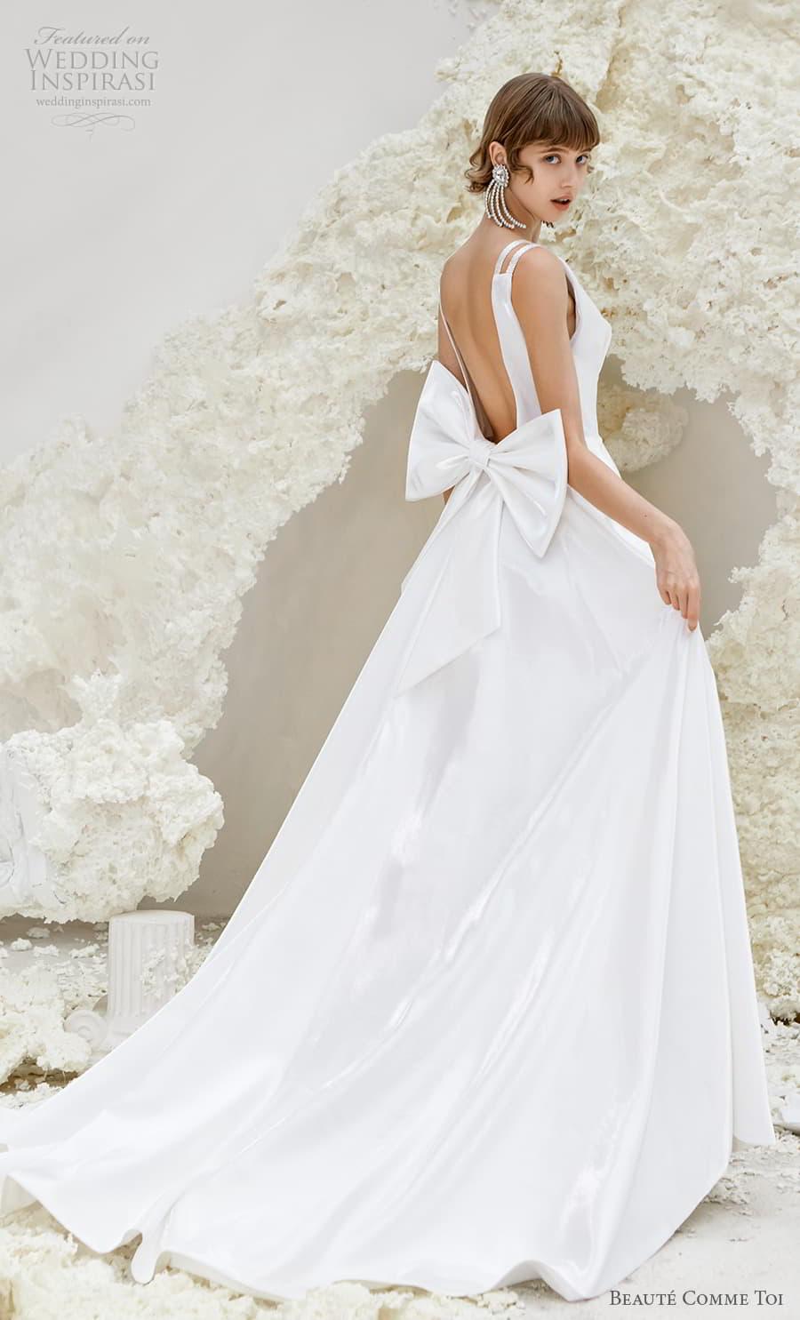 beaute comme toi spring 2022 bridal double strap deep v neckline simple minimalist modern chic a line wedding dress low ribbon back chapel train (phyllis) bv