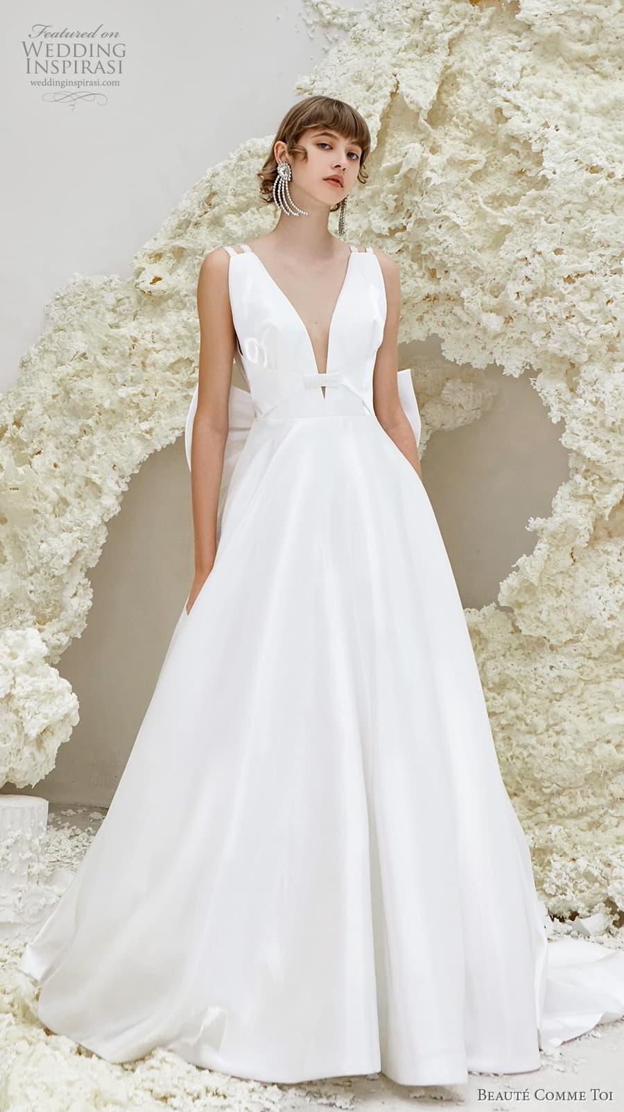beaute comme toi spring 2022 bridal double strap deep v neckline simple minimalist modern chic a line wedding dress low ribbon back chapel train (phyllis) mv