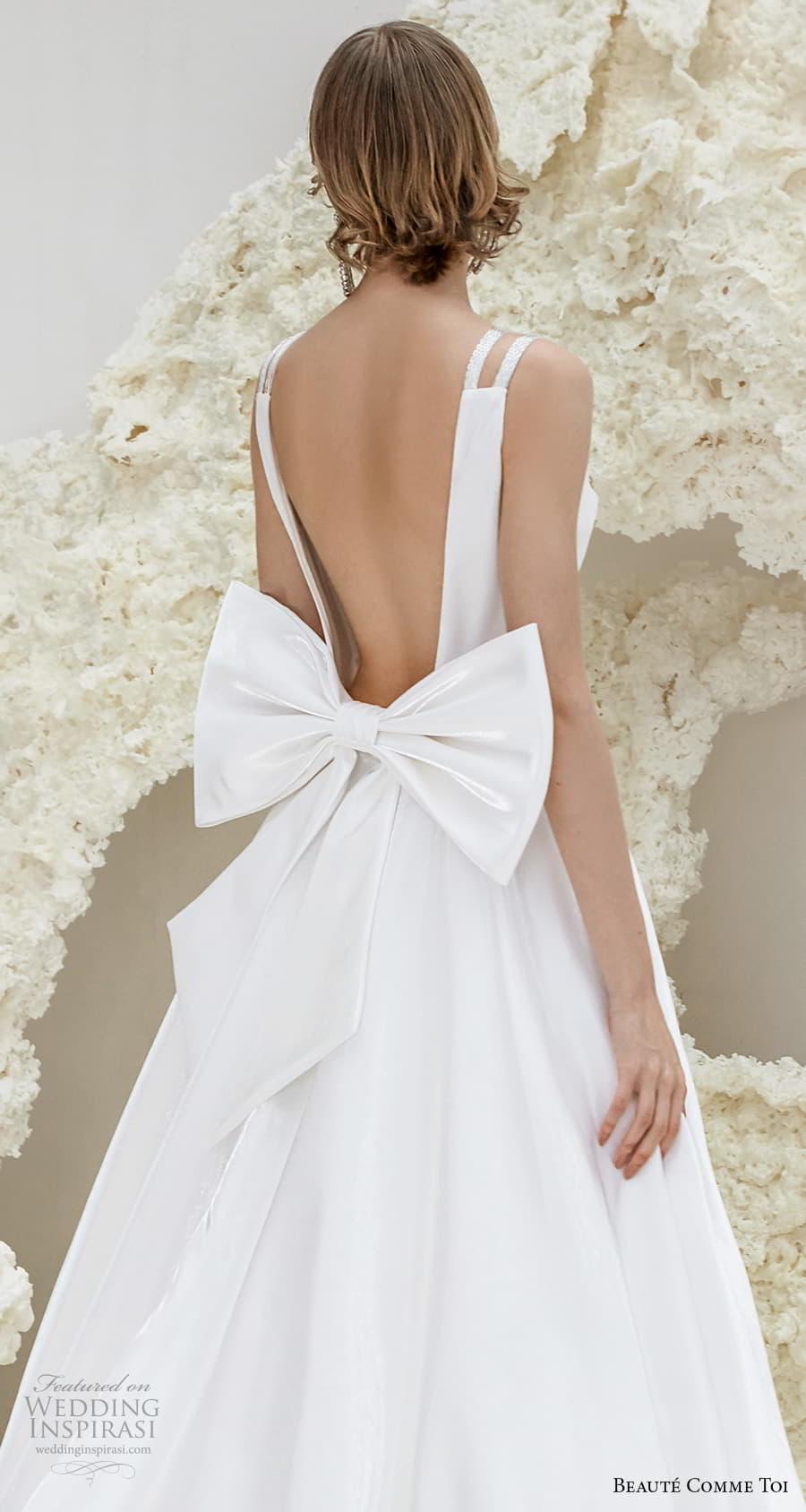 beaute comme toi spring 2022 bridal double strap deep v neckline simple minimalist modern chic a line wedding dress low ribbon back chapel train (phyllis) zbv