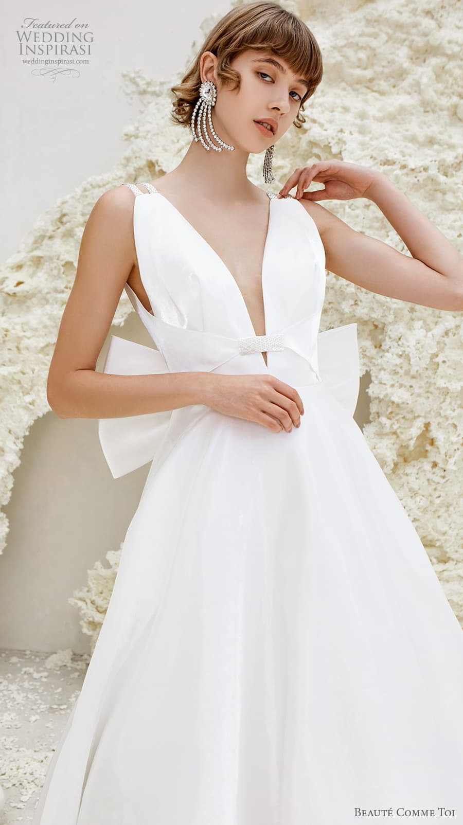beaute comme toi spring 2022 bridal double strap deep v neckline simple minimalist modern chic a line wedding dress low ribbon back chapel train (phyllis) zv