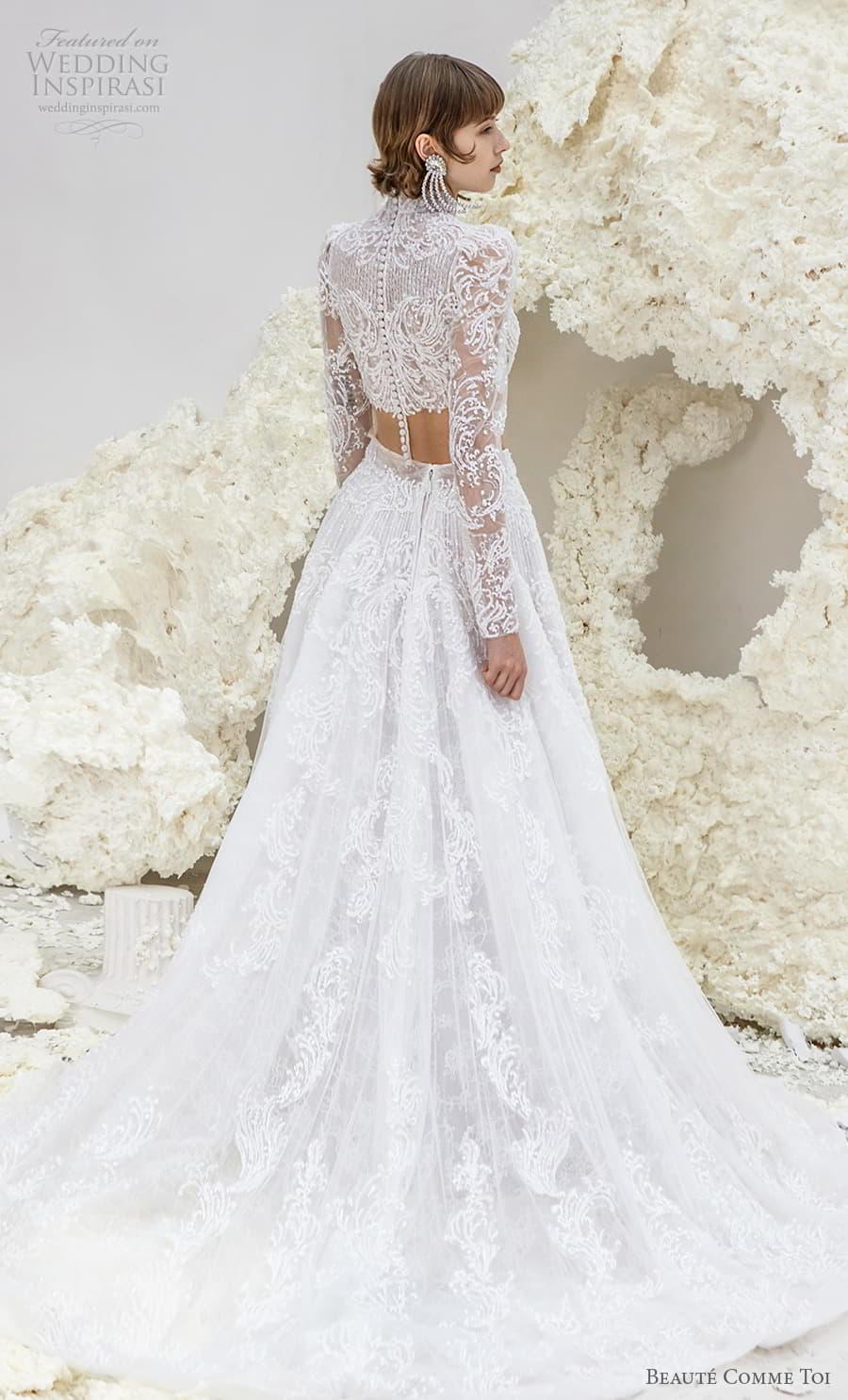 beaute comme toi spring 2022 bridal long sleeve high neckline crop top a line ball gown wedding dress chapel train (ursula) bv