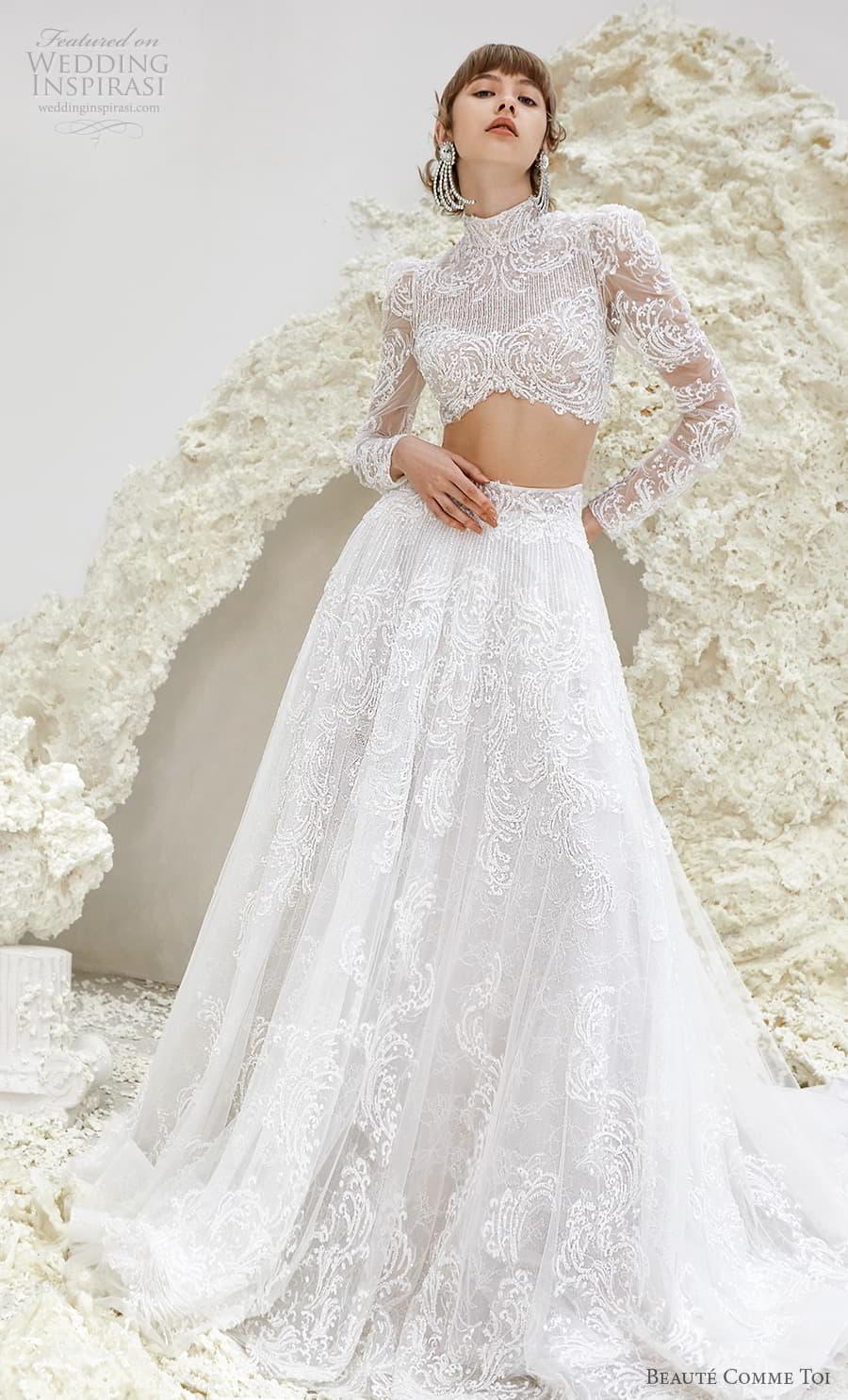 beaute comme toi spring 2022 bridal long sleeve high neckline crop top a line ball gown wedding dress chapel train (ursula) mv
