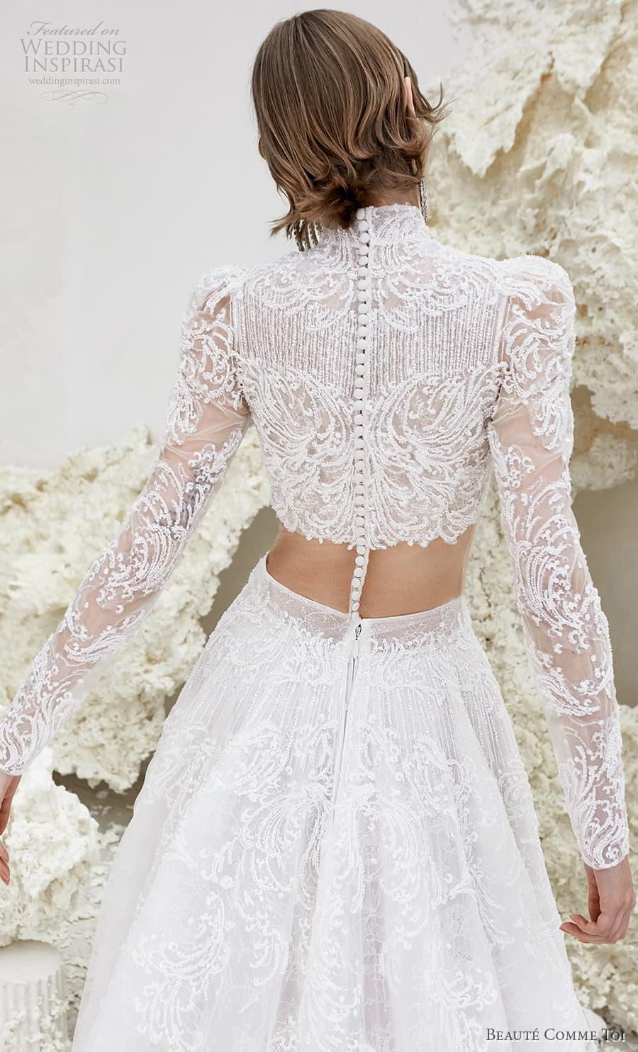 beaute comme toi spring 2022 bridal long sleeve high neckline crop top a line ball gown wedding dress chapel train (ursula) zbv