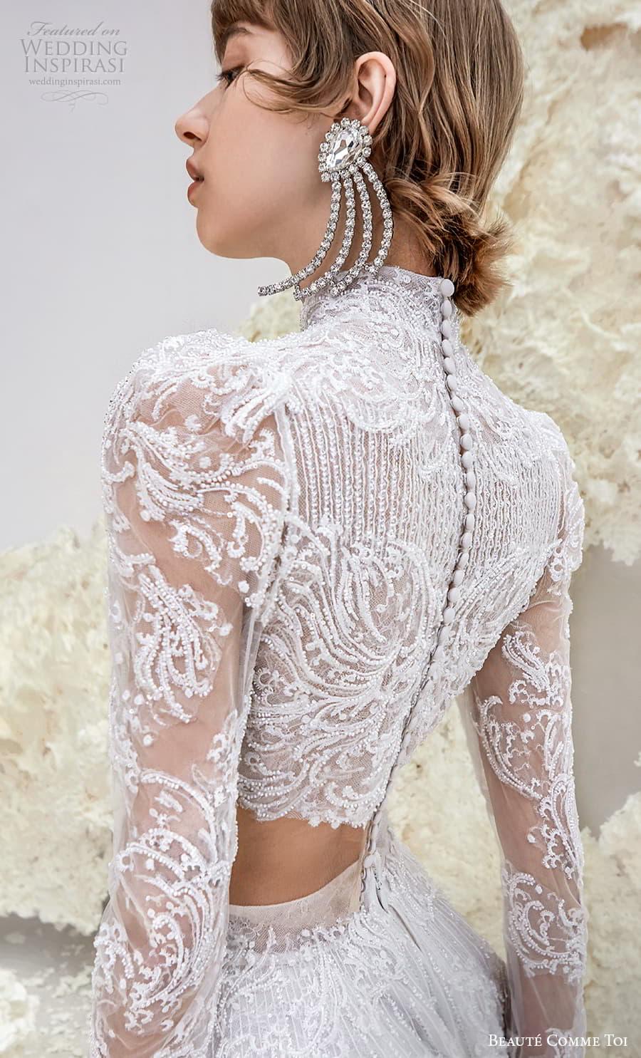 beaute comme toi spring 2022 bridal long sleeve high neckline crop top a line ball gown wedding dress chapel train (ursula) zsv