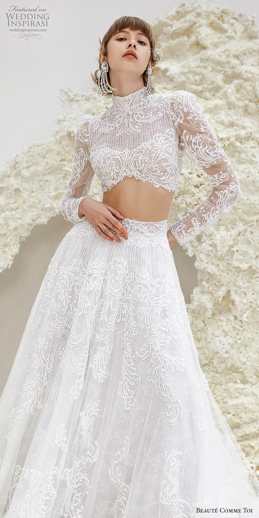 beaute comme toi spring 2022 bridal long sleeve high neckline crop top a line ball gown wedding dress chapel train (ursula) zv