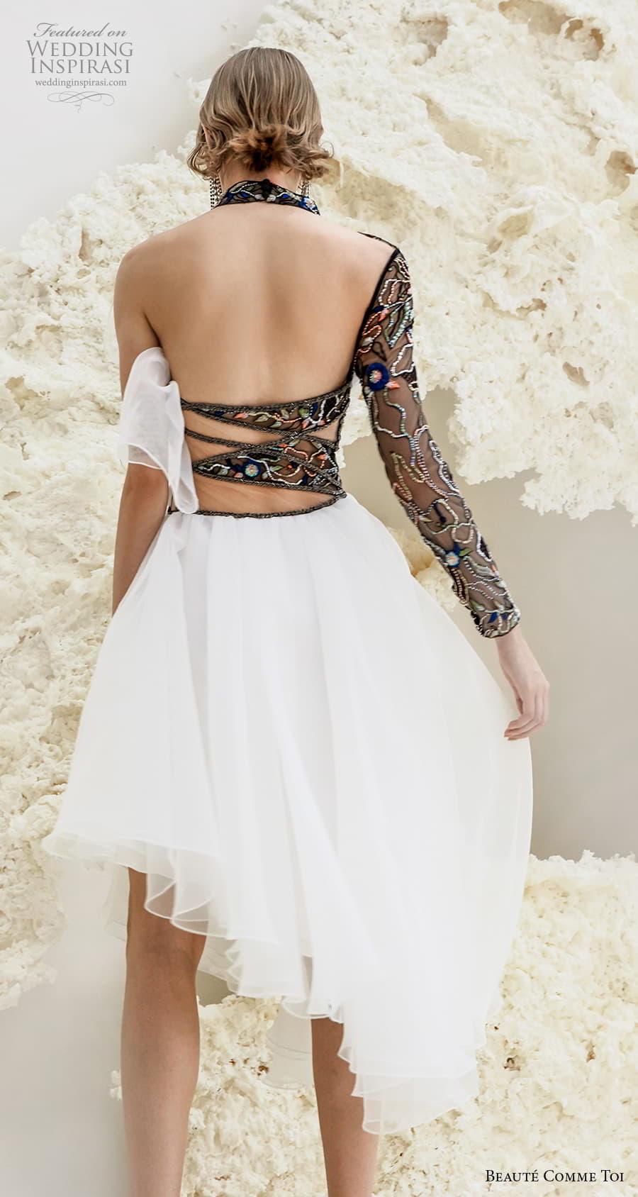 beaute comme toi spring 2022 bridal long sleeves one shoulder high neck heavily embellished bodice black short wedding dress low back (arabella) bv