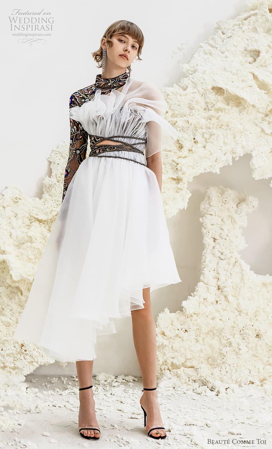beaute comme toi spring 2022 bridal long sleeves one shoulder high neck heavily embellished bodice black short wedding dress low back (arabella) mv
