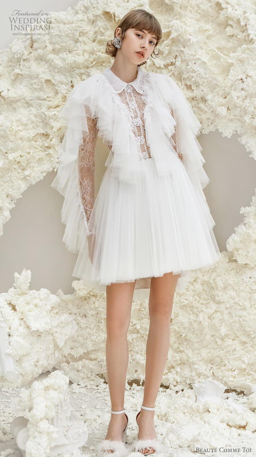 beaute comme toi spring 2022 bridal long tiered sleeves collar neck heavily embellished bodice pretty short wedding dress keyhole back (maeve) mv
