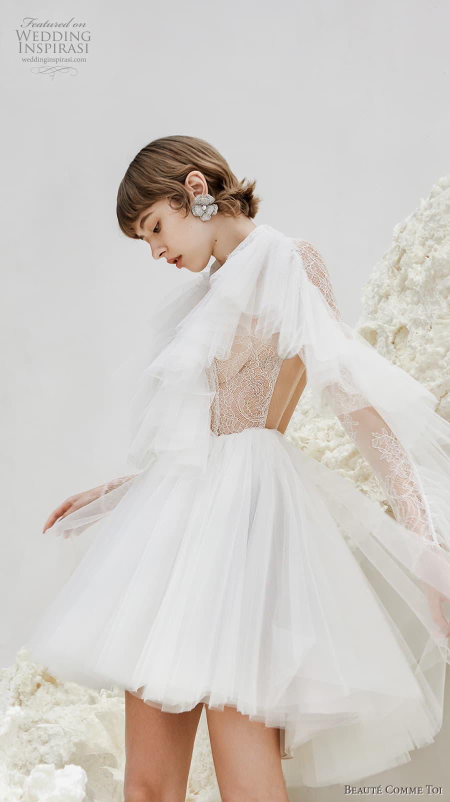 beaute comme toi spring 2022 bridal long tiered sleeves collar neck heavily embellished bodice pretty short wedding dress keyhole back (maeve) sv