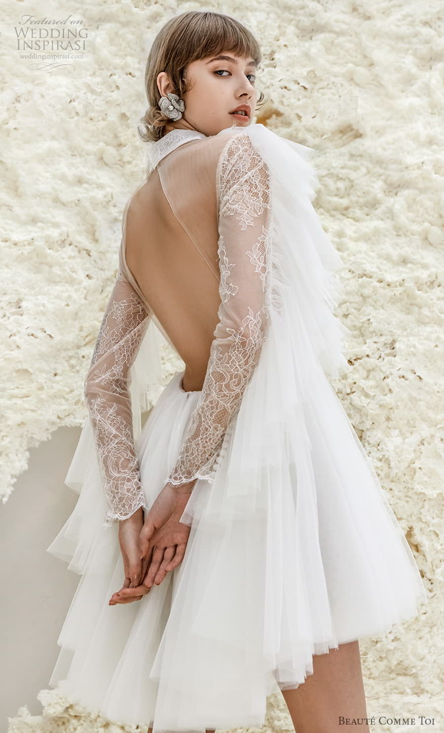 beaute comme toi spring 2022 bridal long tiered sleeves collar neck heavily embellished bodice pretty short wedding dress keyhole back (maeve) zbv
