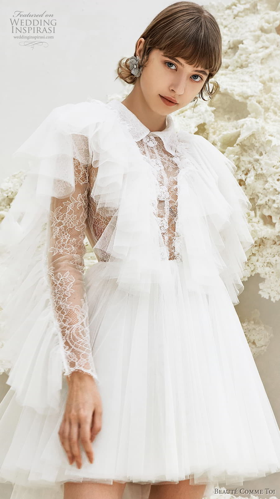 beaute comme toi spring 2022 bridal long tiered sleeves collar neck heavily embellished bodice pretty short wedding dress keyhole back (maeve) zv
