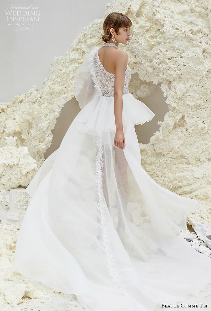 beaute comme toi spring 2022 bridal one shoulder heavily embellished bodice romantic mini short wedding dress a line overskirt chapel train (patricia) bv